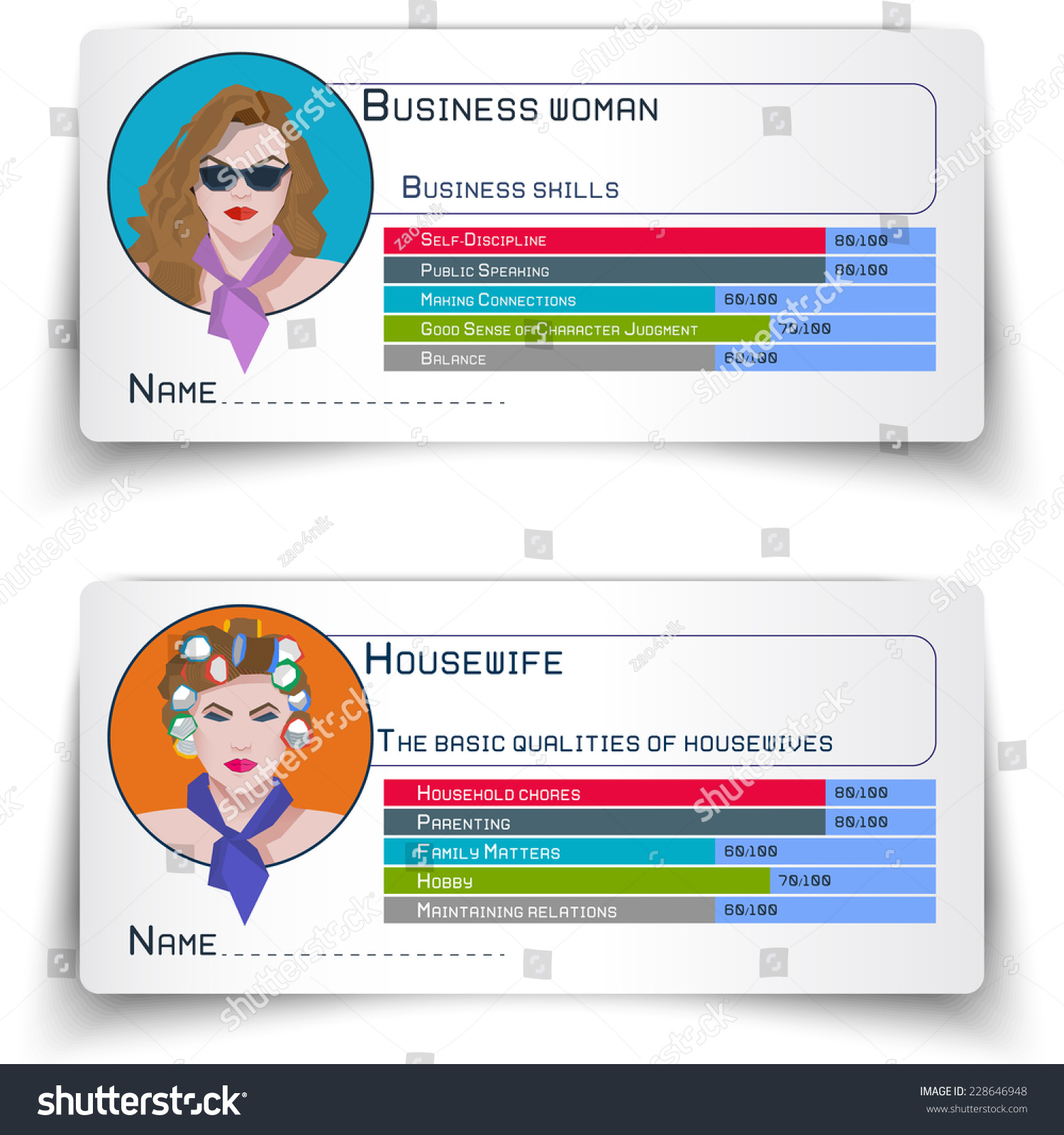 ID Cards Infographics Business Women Housewives Stock Vector ...