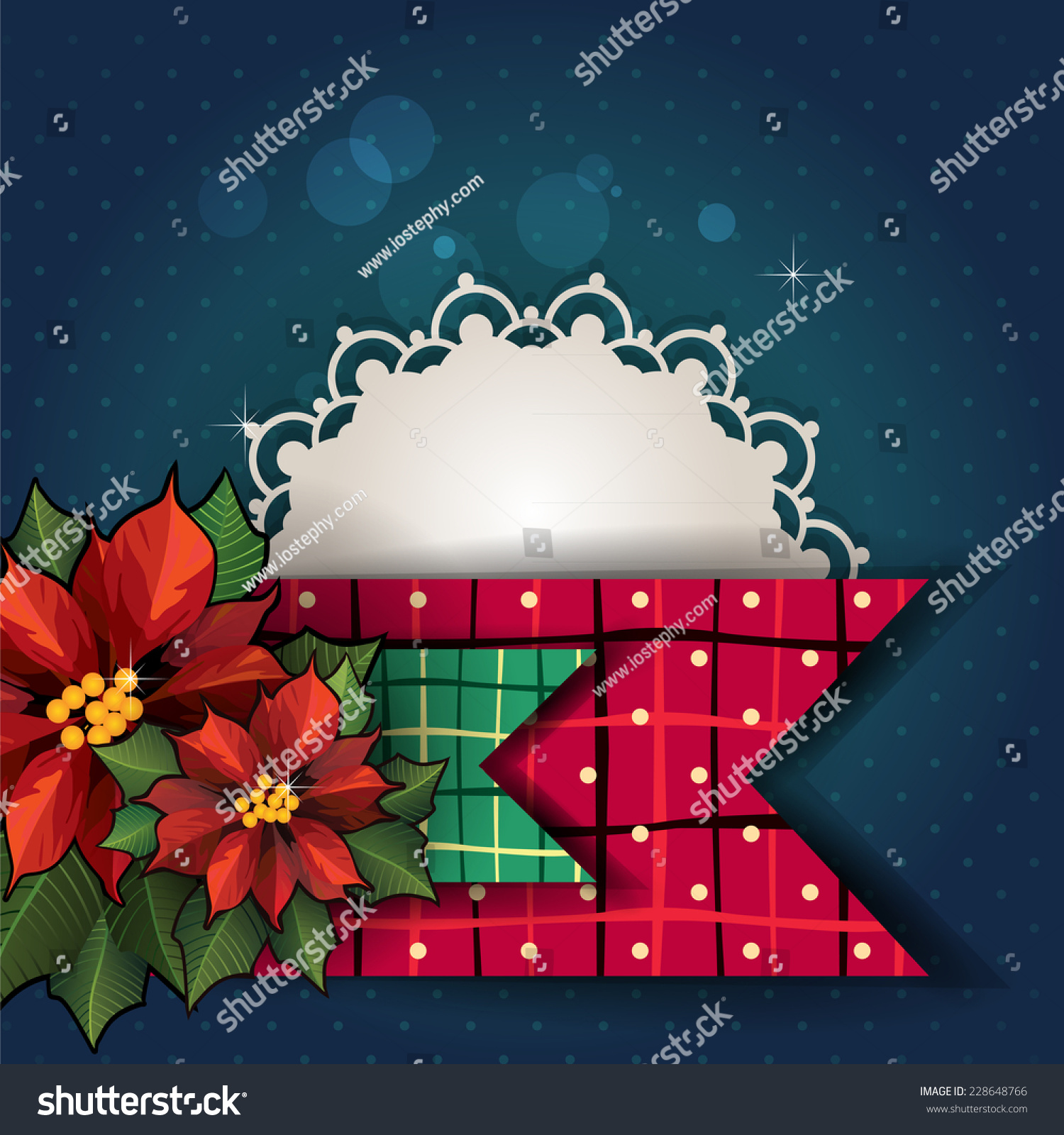 Stars Flowers Christmas Card Blue With Space Stock Illustration ...