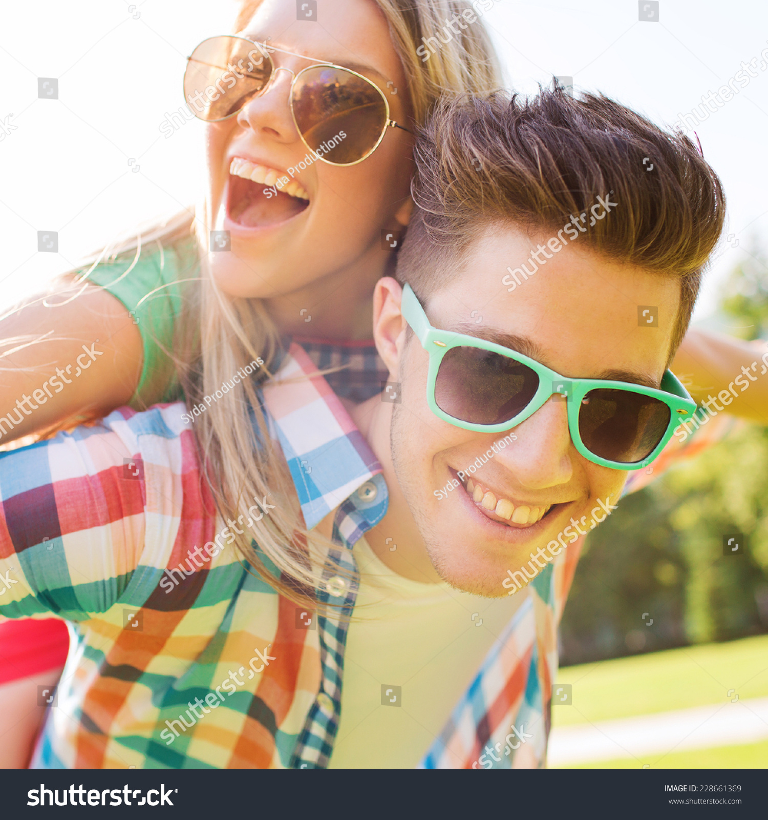 Couple Enjoying Their Summer Holidays Stock Photo: Holidays, Vacation, Love And Friendship Concept