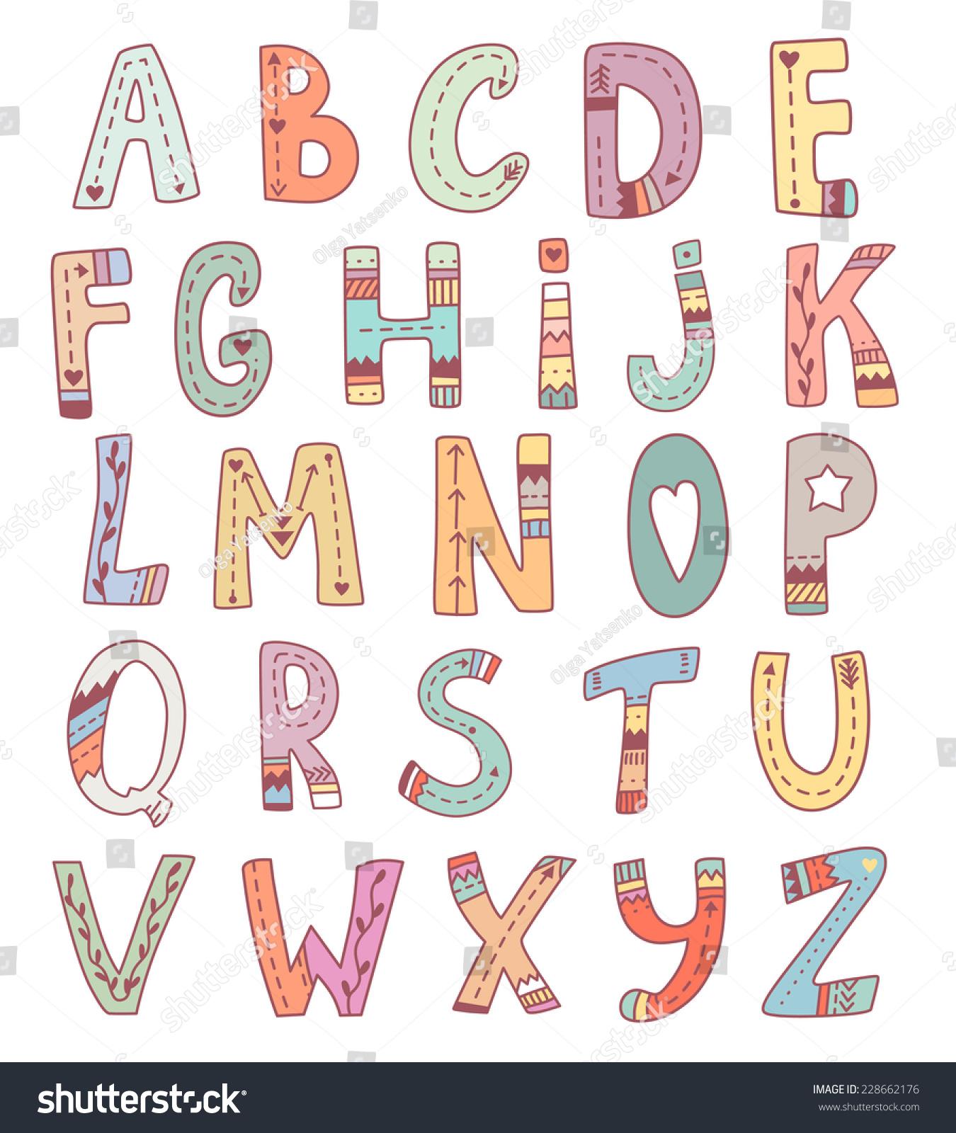 Vector Cute English Alphabet Funny Tribal Stock Vector ... Cute Alphabets