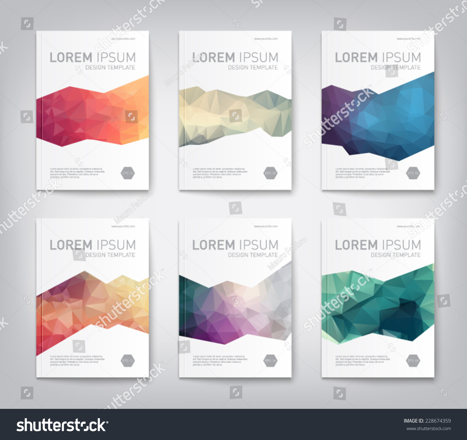 set abstract modern cover report brochure stock vector  set of abstract modern cover report brochure flyer design template geometric triangular style