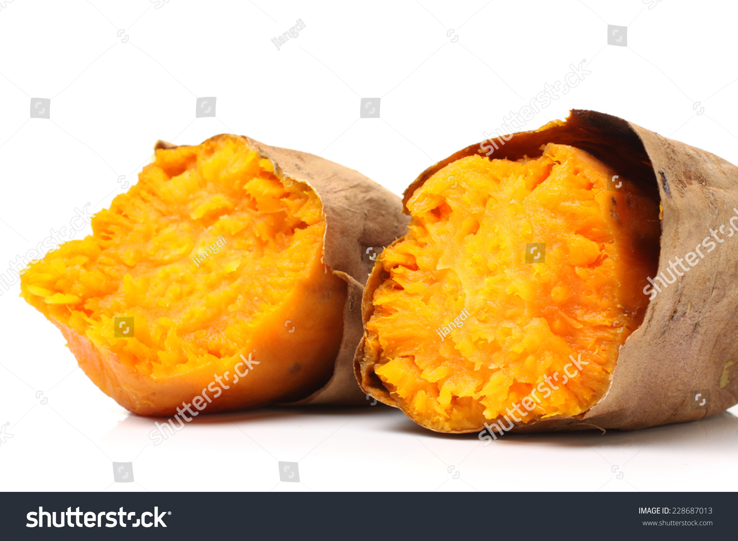 roasted sweet potatoes on a white background