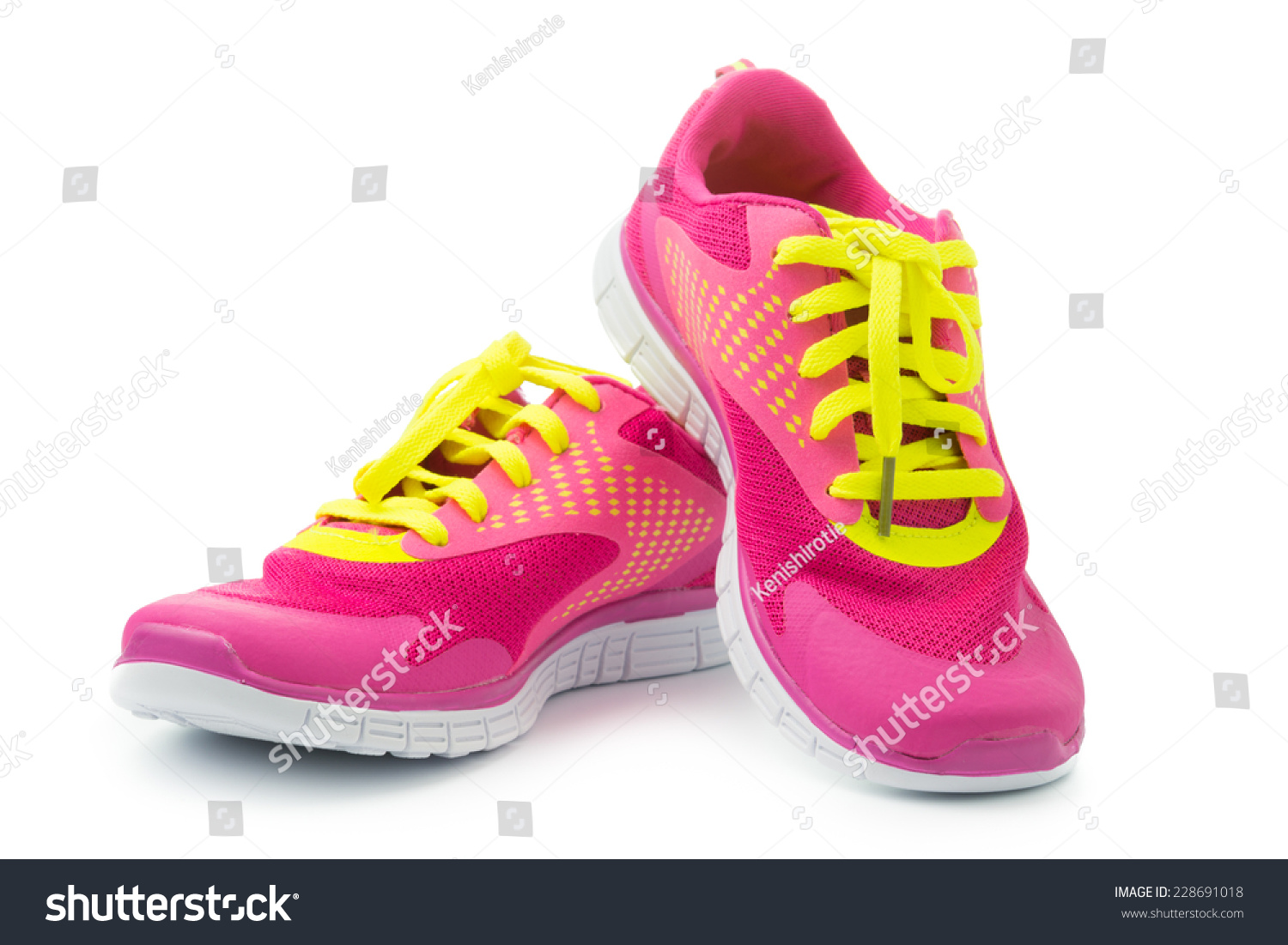 Pair Pink Sport Shoes On White Stock Photo 228691018 ...