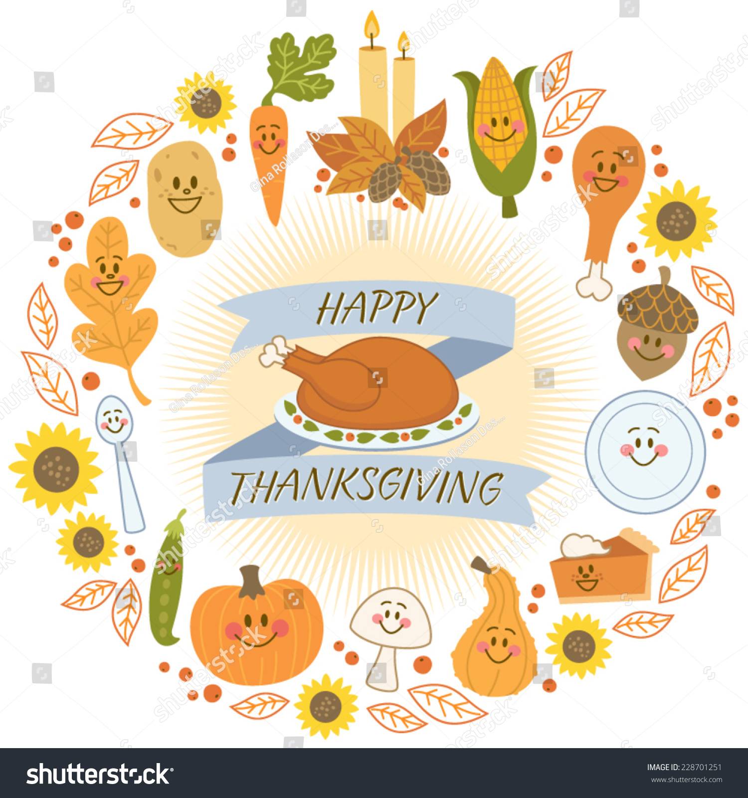 Happy Thanksgiving Banner Cute Food Characters Stock Vector ...