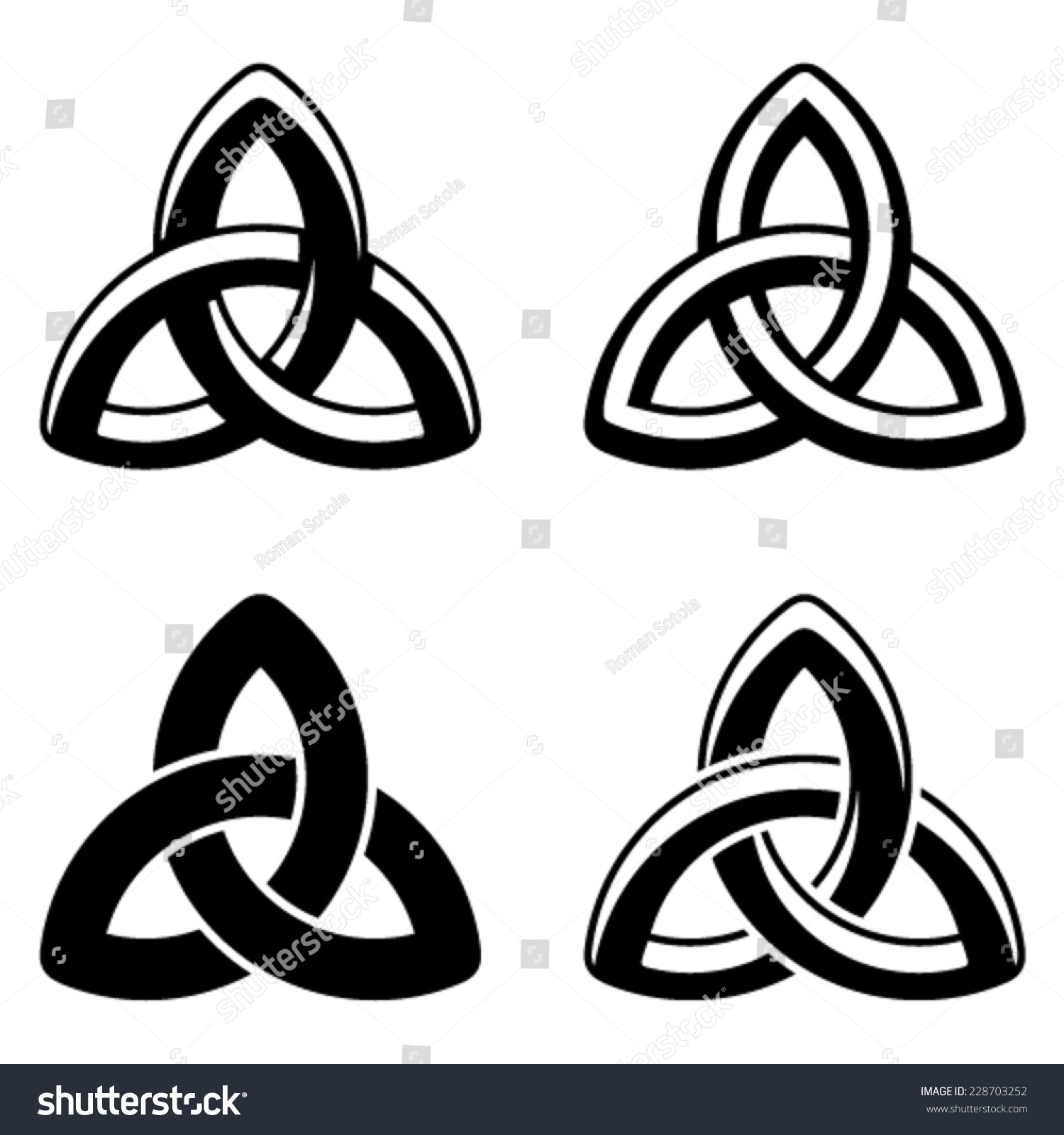 Vector Celtic Knot Black White Symbols Stock Vector 228703252