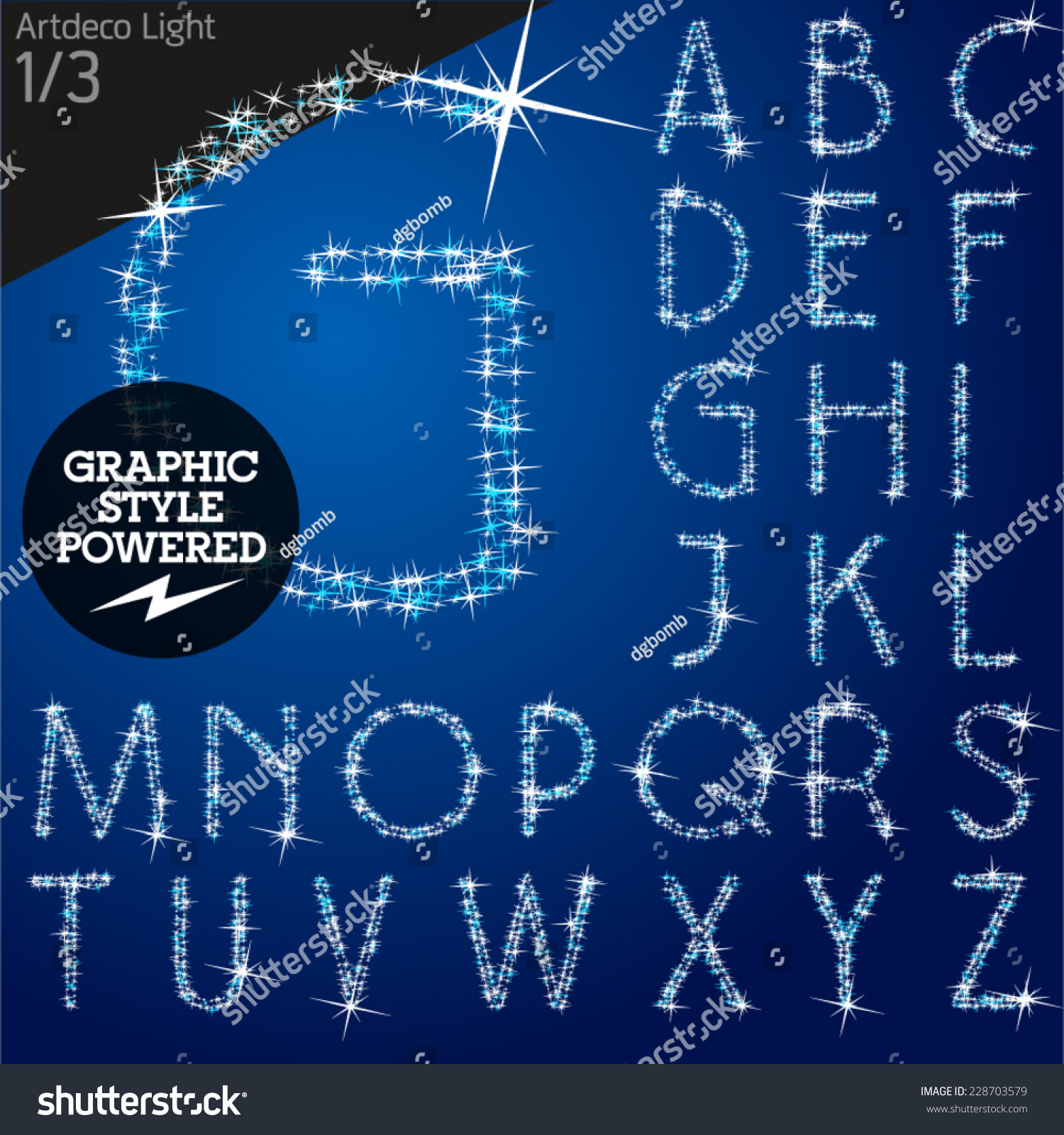 Vector Christmas Font Characters Of A Shining Stars