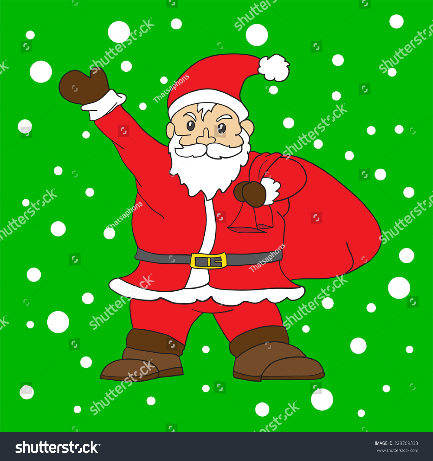Santa Clauswith Snow Background Christmass Day Stock Vector (Royalty ...