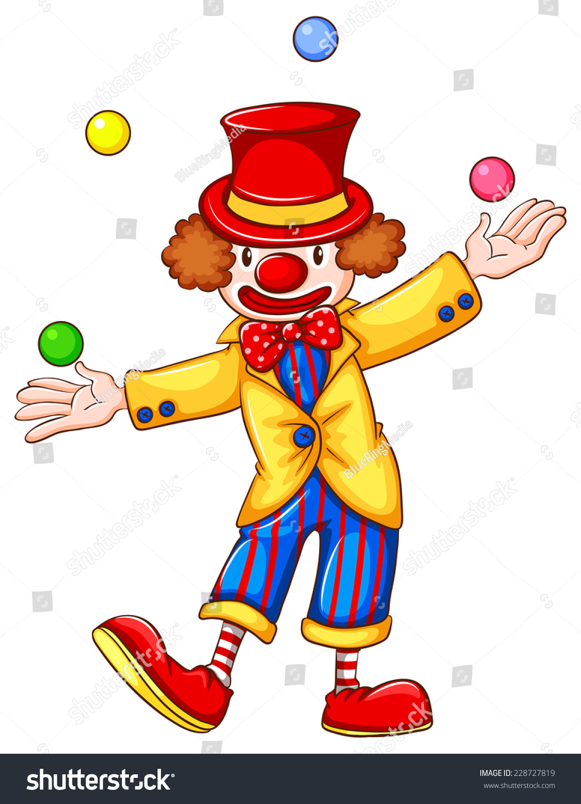 coloured drawing clown juggling on white stock vector 228727819