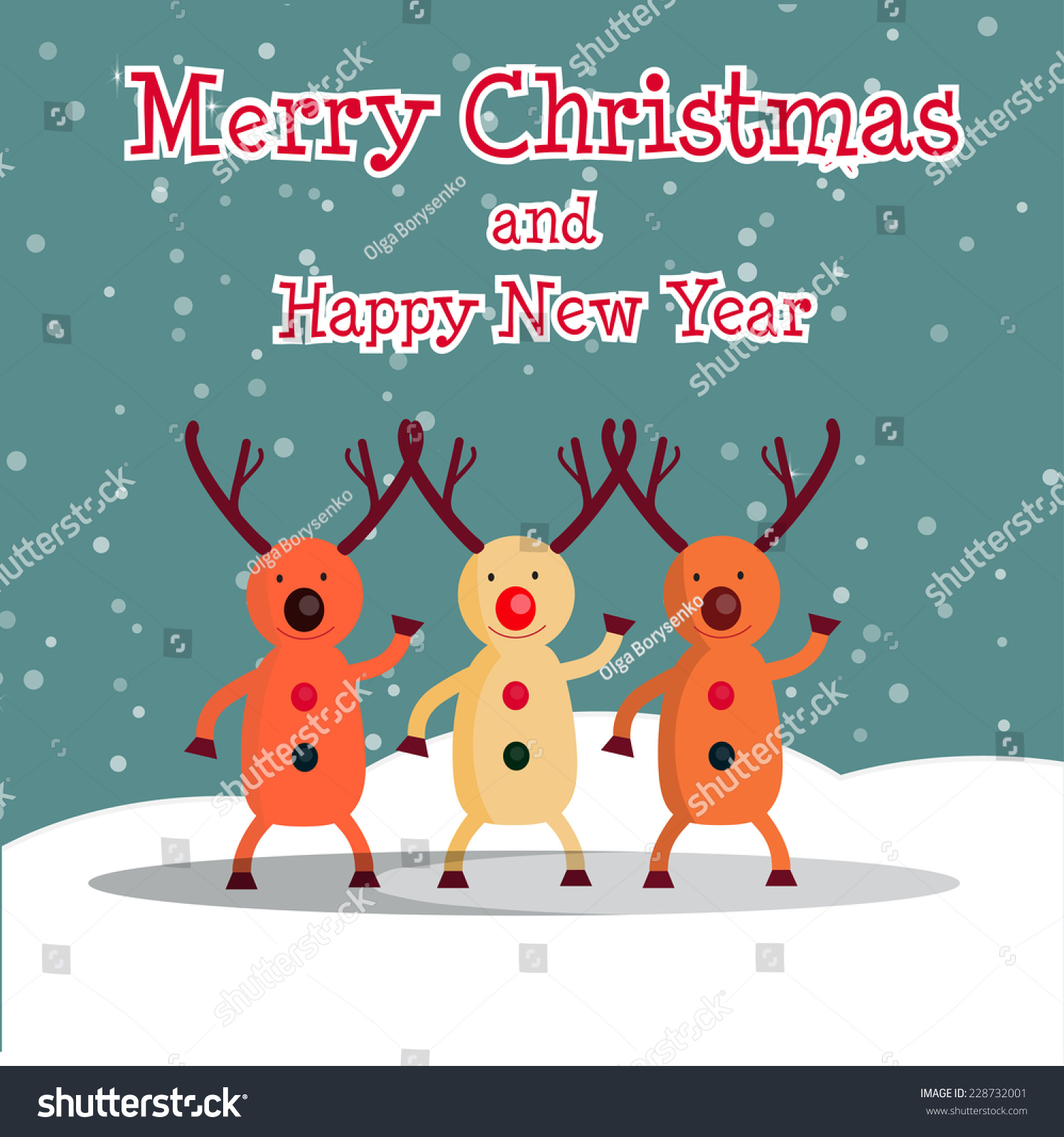 Vector illustration christmas card with reindeer funny for Funny reindeer christmas cards