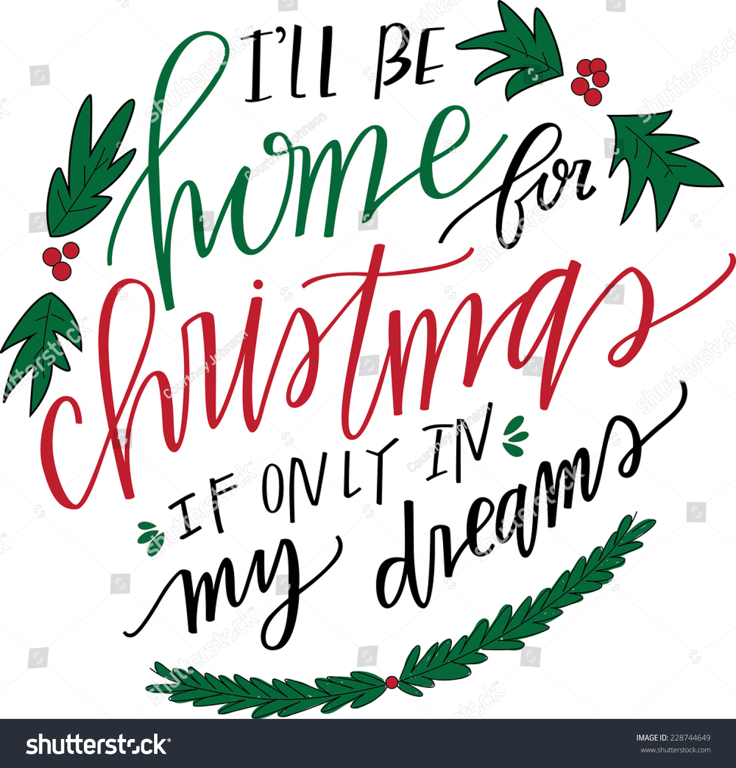 Be Home Christmas Handlettered Art Vector Stock Vector (Royalty Free ...