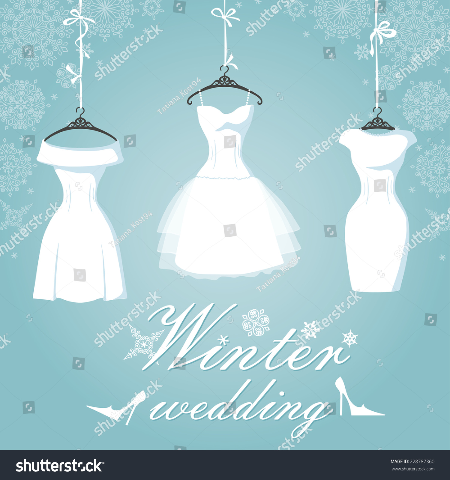 Winter Bridal Shower Three Wedding Dresses Stock Vector 228787360 ...