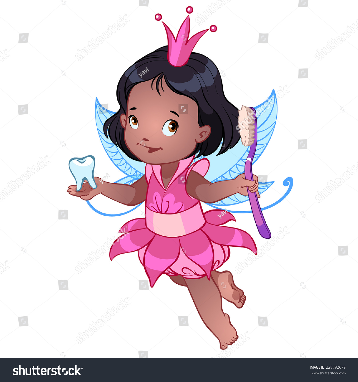 Little Cute Tooth Fairy With Toothbrush Stock Photo 228792679