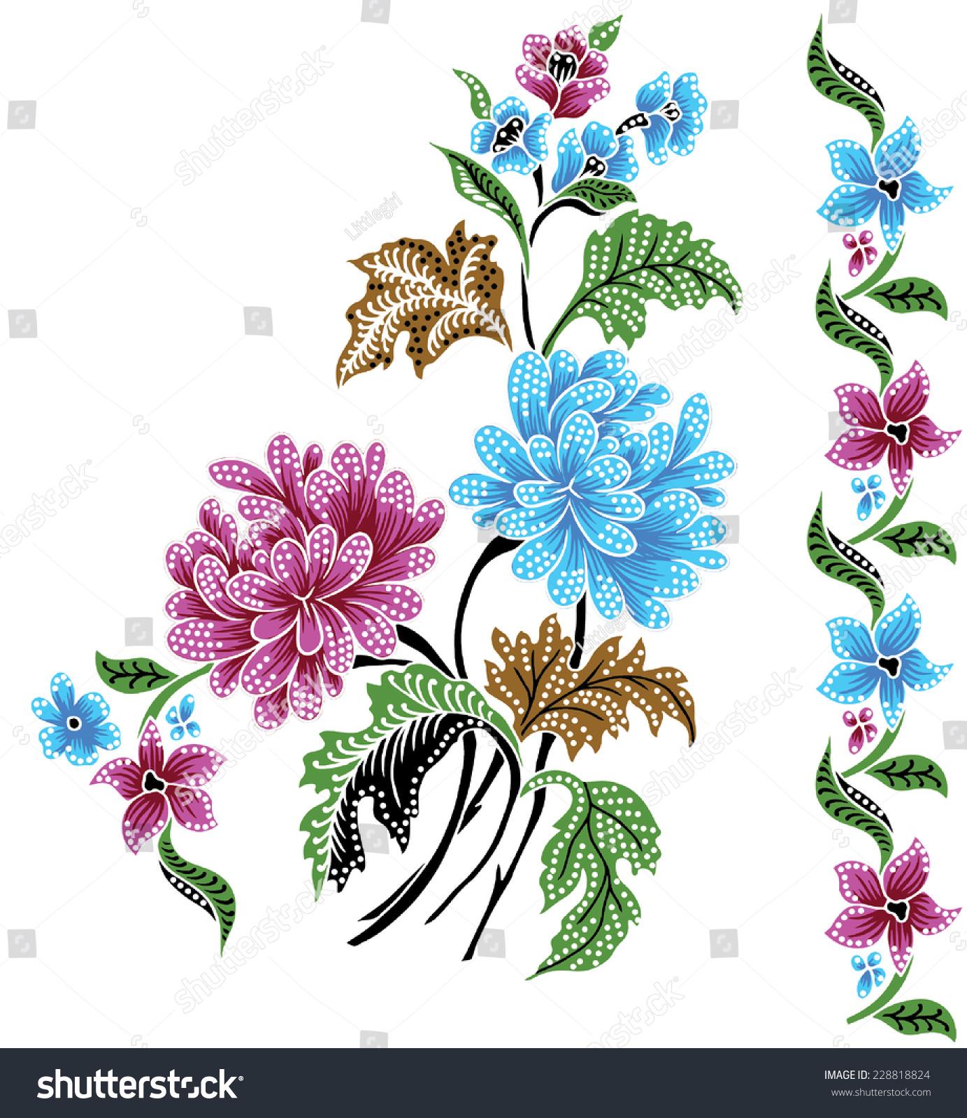 Vector Batik Colorful Background Stock Vector 228818824