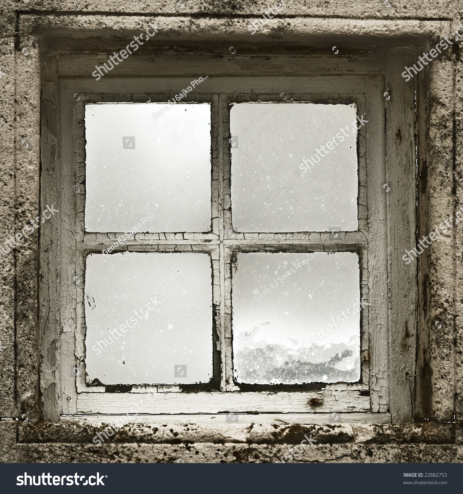 Cabins Out Of Old Windows : Old window cracked paint inside looking stock photo