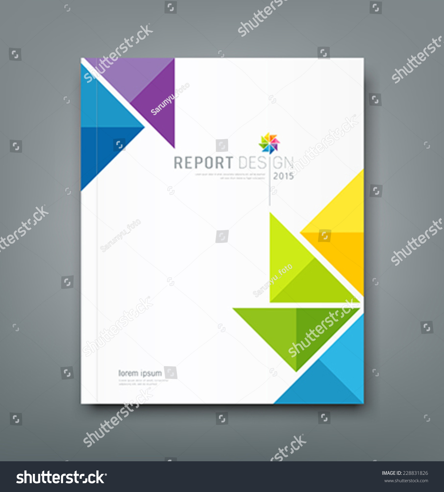 Book Cover Paper Design : Cover annual report colorful windmill origami paper