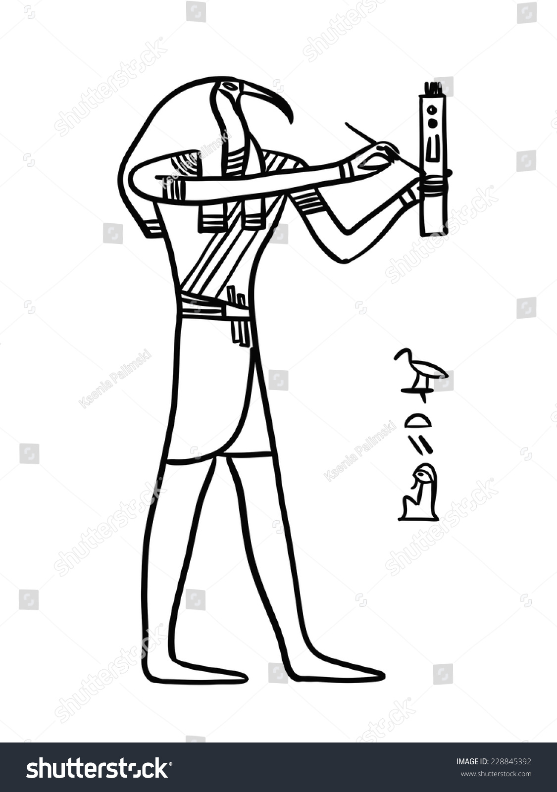 Thoth egyptian god illustration isolated black stock vector thoth egyptian god illustration isolated black line on white a man with the head of biocorpaavc Gallery
