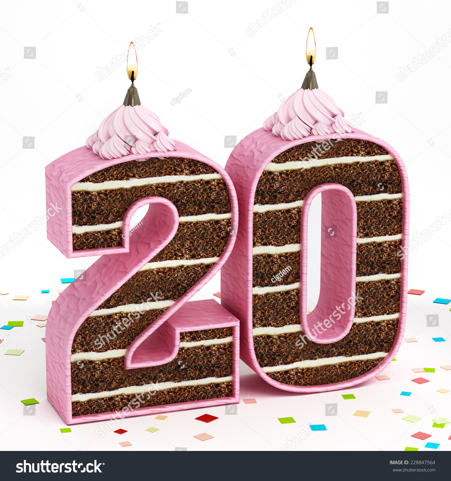 Number 20 Shaped Chocolate Birthday Cake Stock Illustration