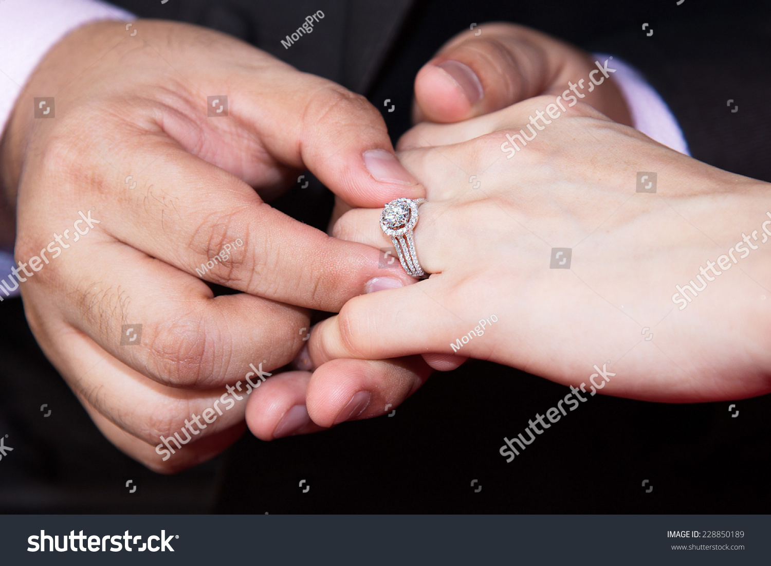 Closeup Hands Bridal Couple Wedding Rings Stock Photo (Download Now ...