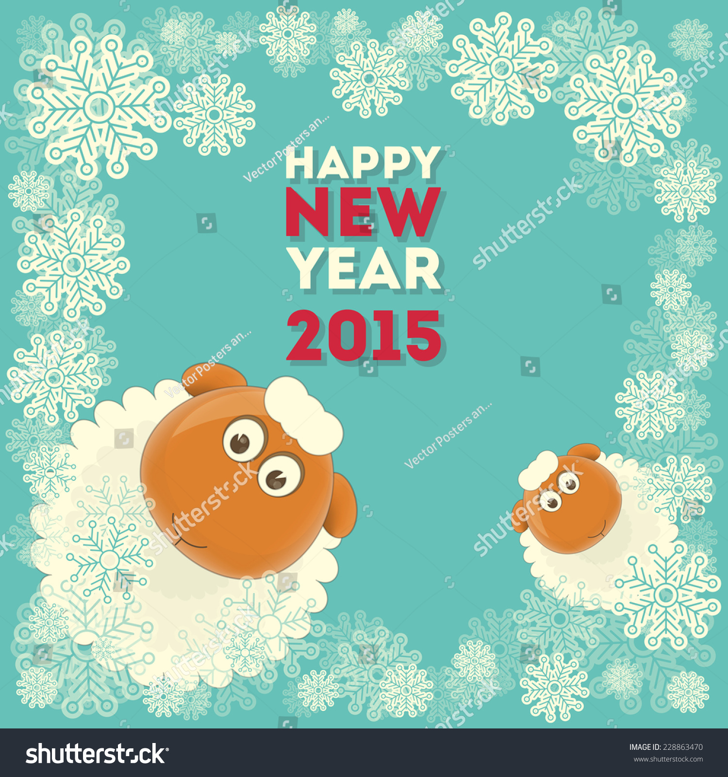 New year card cute cartoon two stock vector 228863470 shutterstock new year card with cute cartoon two sheeps symbol of 2015 year year of kristyandbryce Image collections