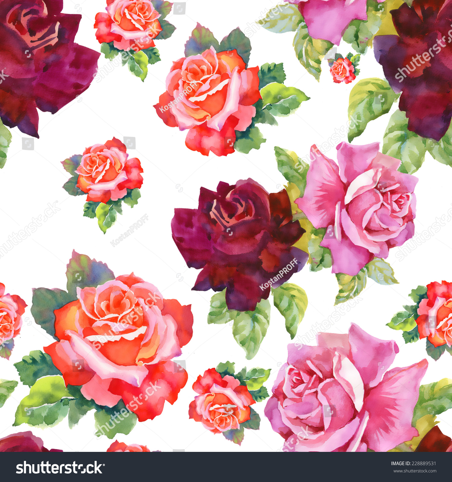 Watercolor Red Pink Roses Seamless Pattern Stock Vector 228889531