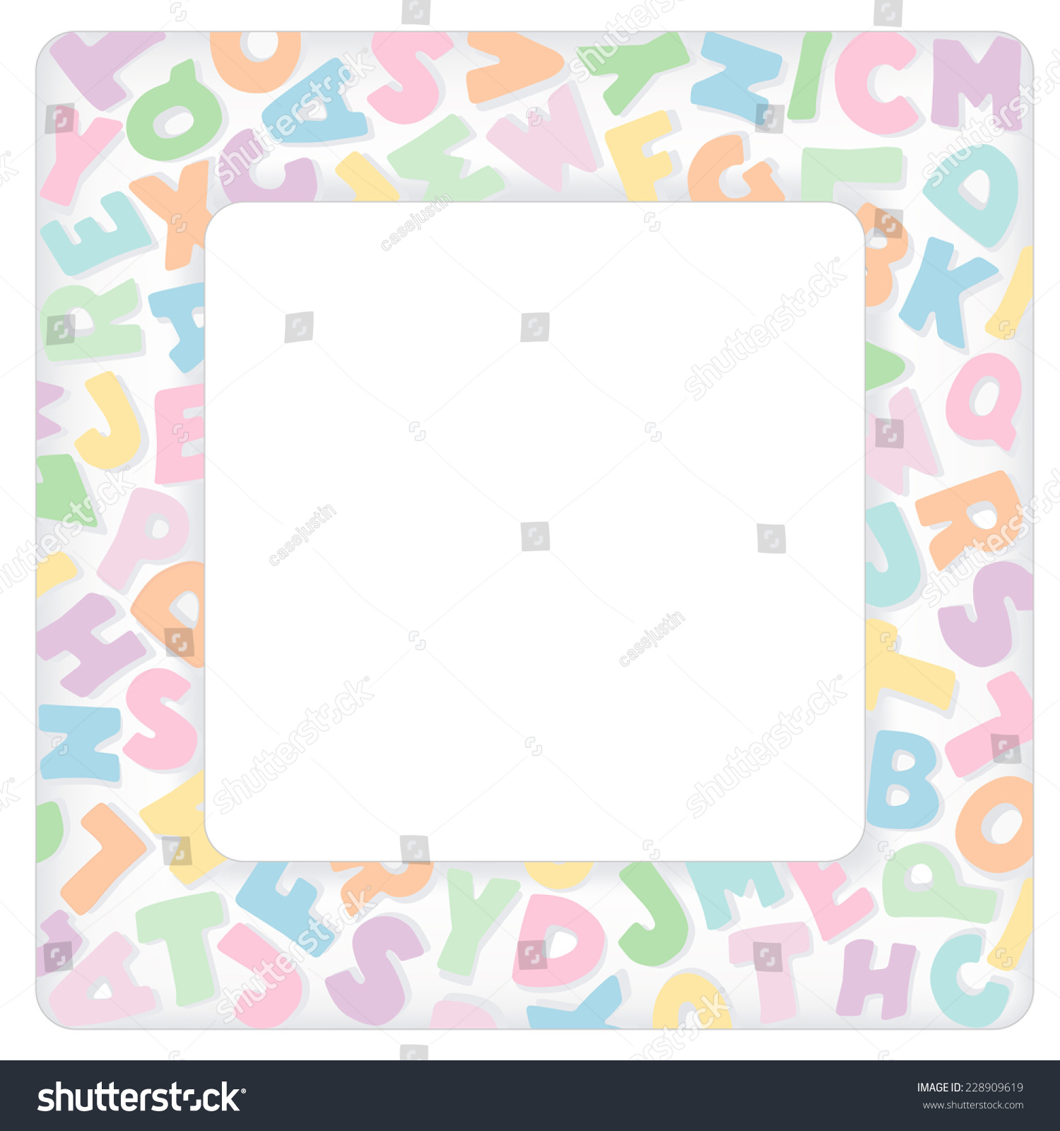 Alphabet frame square multi color pastel stock vector 228909619 alphabet frame square multi color pastel letter border with copy space for baby books solutioingenieria Image collections