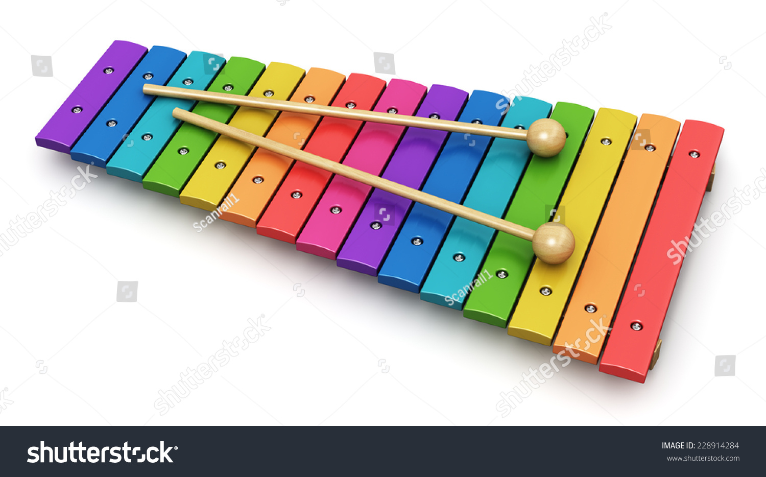 Wooden Rainbow Xylophone Sticks ~ Creative abstract percussion musical instrument and music
