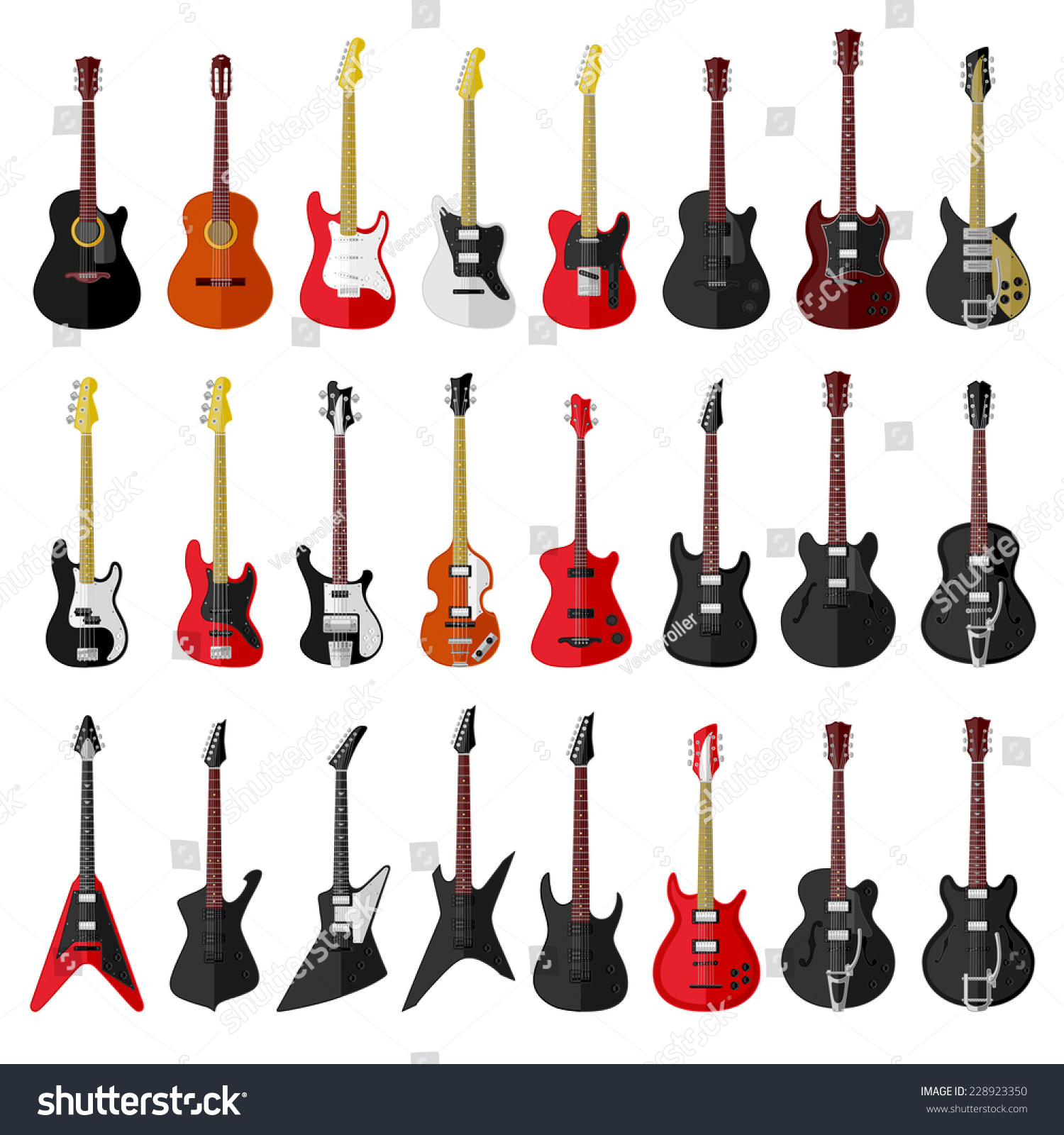 Set Isolated Vintage Guitars Flat Design Stock Vector