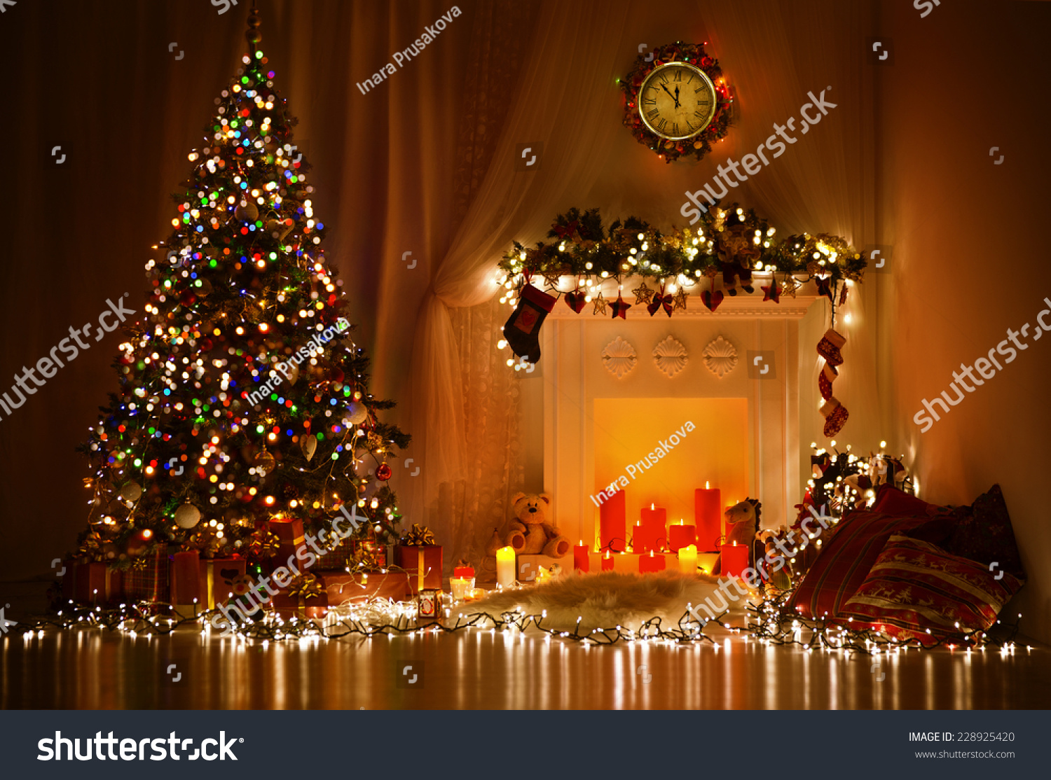 Christmas Room Interior Design Xmas Tree Decorated By Lights Presents Gifts Toys Candles And