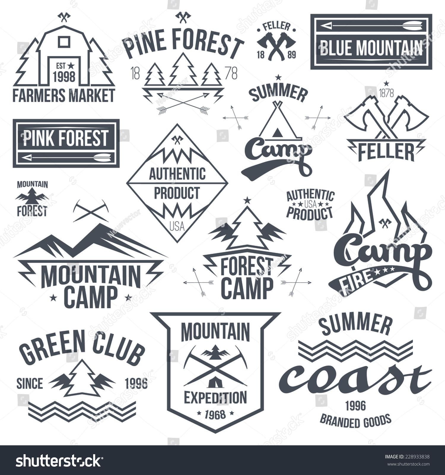 Shirt design graphics - Set Of Retro Vintage Camping Badges Graphics Design For T Shirt Black Print