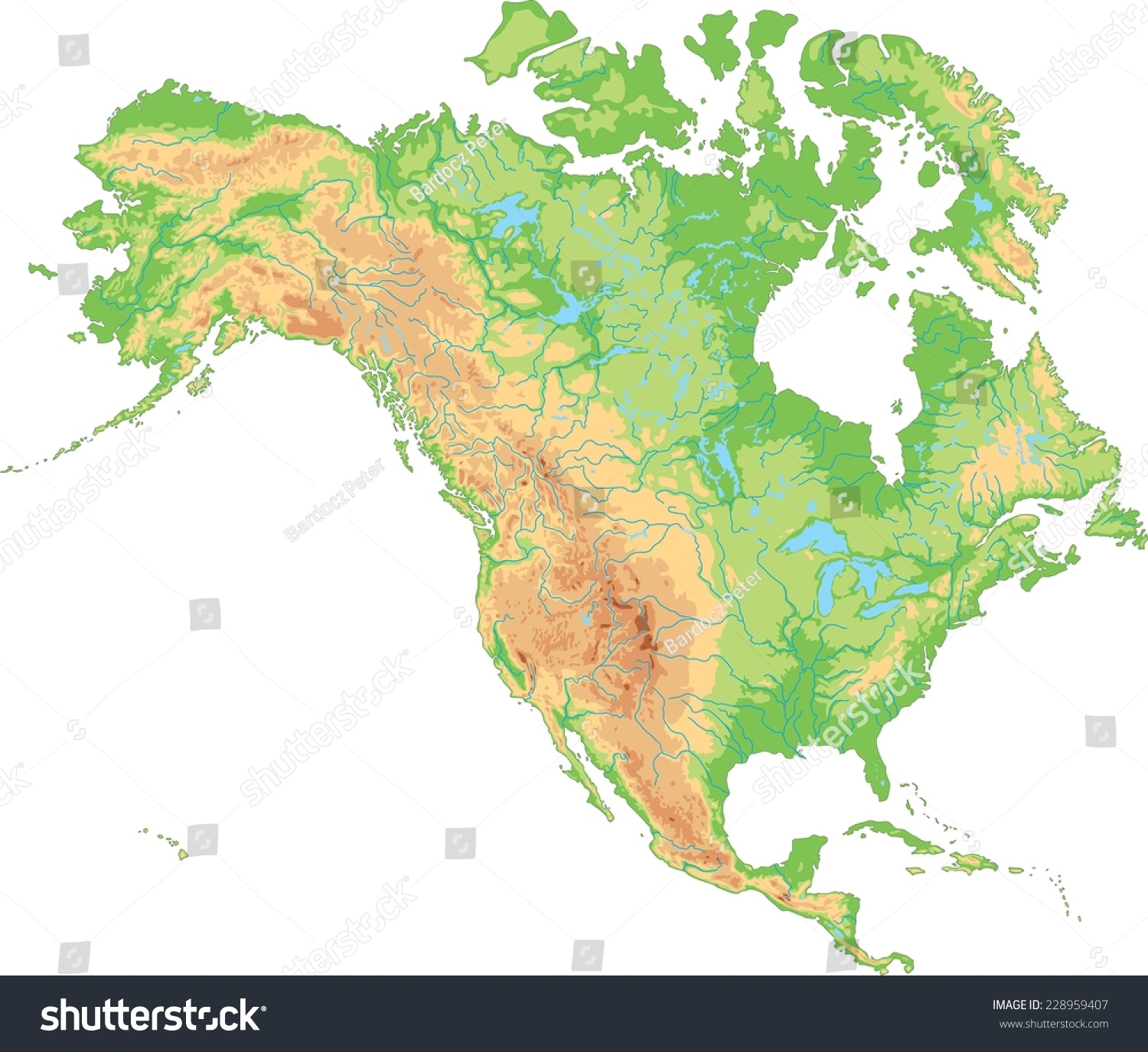 High Detailed North America Physical Map Stock Vector (Royalty Free ...