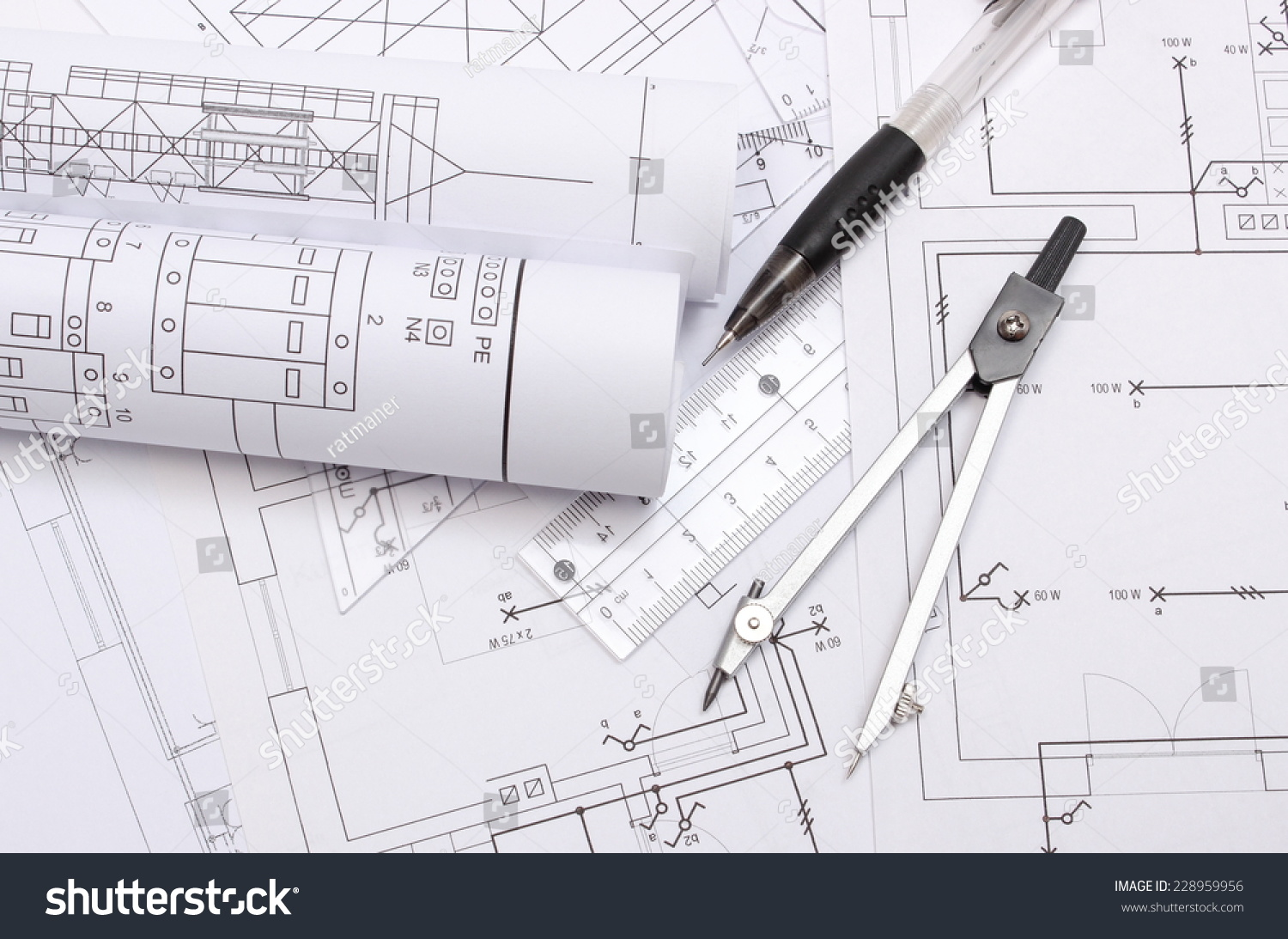 Rolled Electrical Diagrams And Accessories For Drawing Lying On Engineering Construction Of House Drawings The Projects Engineer Jobs Ez