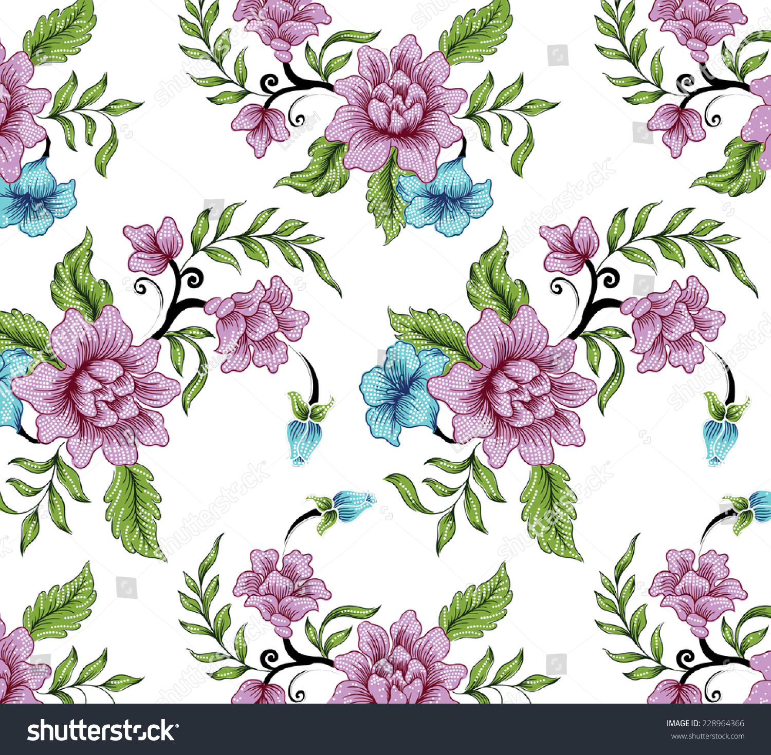 Vector Floral Pattern With Blooming Flowers