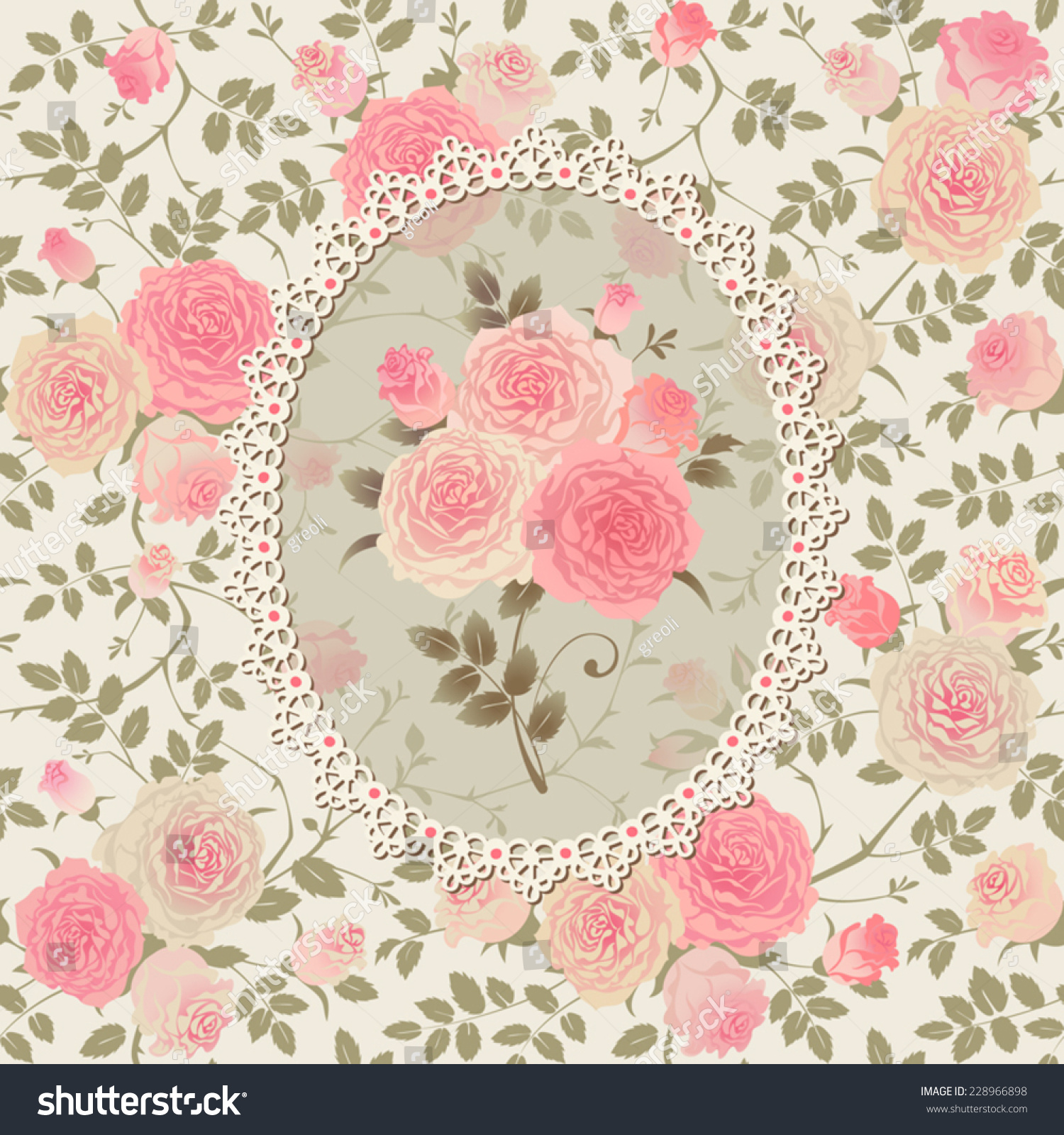 shabby chic rose pattern lace frame stock vector 228966898 shutterstock. Black Bedroom Furniture Sets. Home Design Ideas