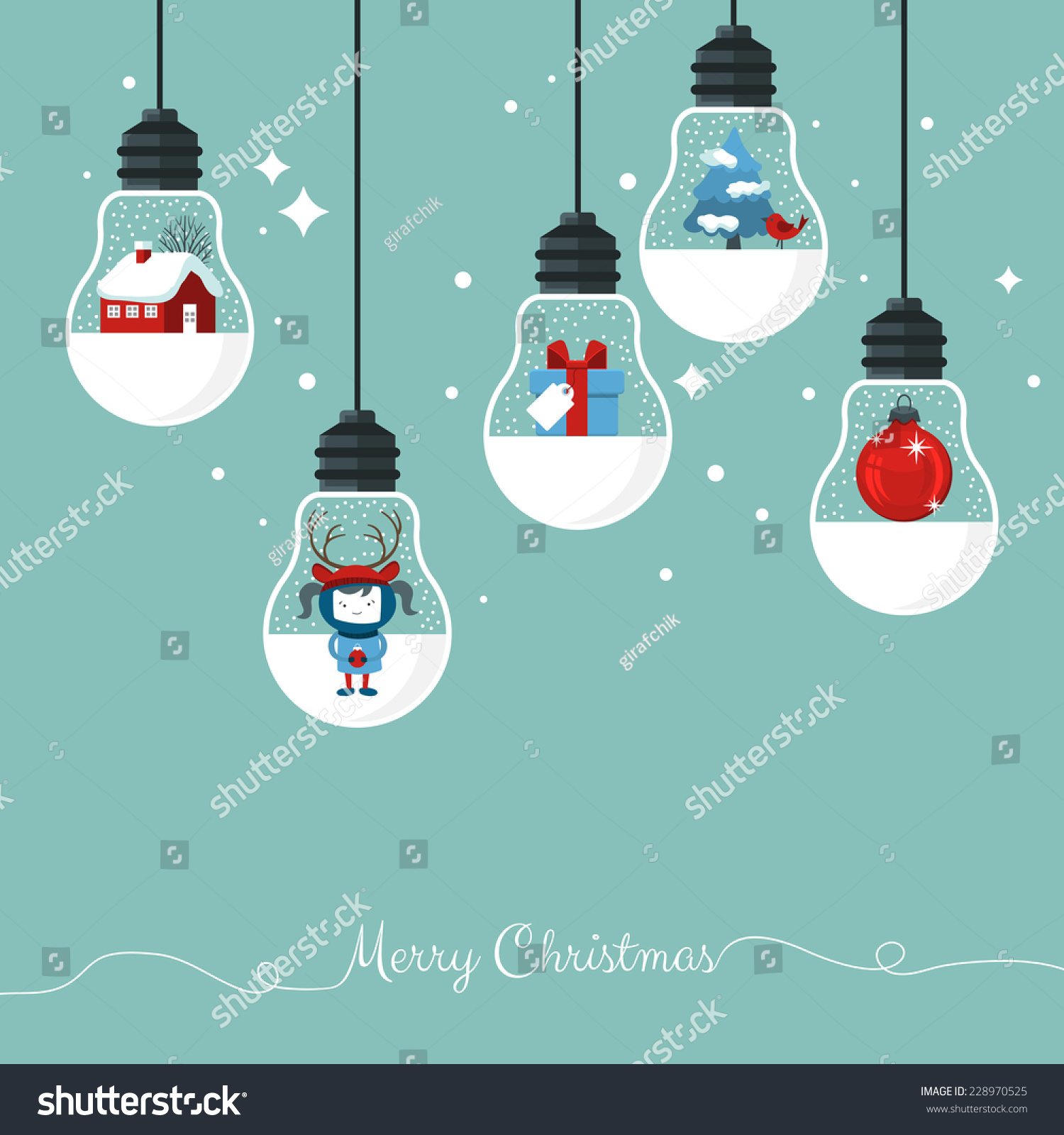 Modern Christmas Card Flat Stylish Design Stock Vector (Royalty Free ...