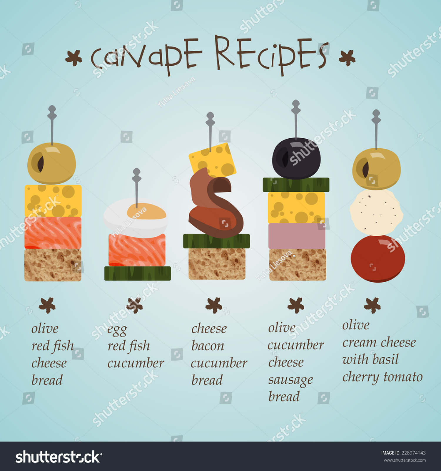 Illustration of canape recipes with ingredients in flat for Canape ingredients