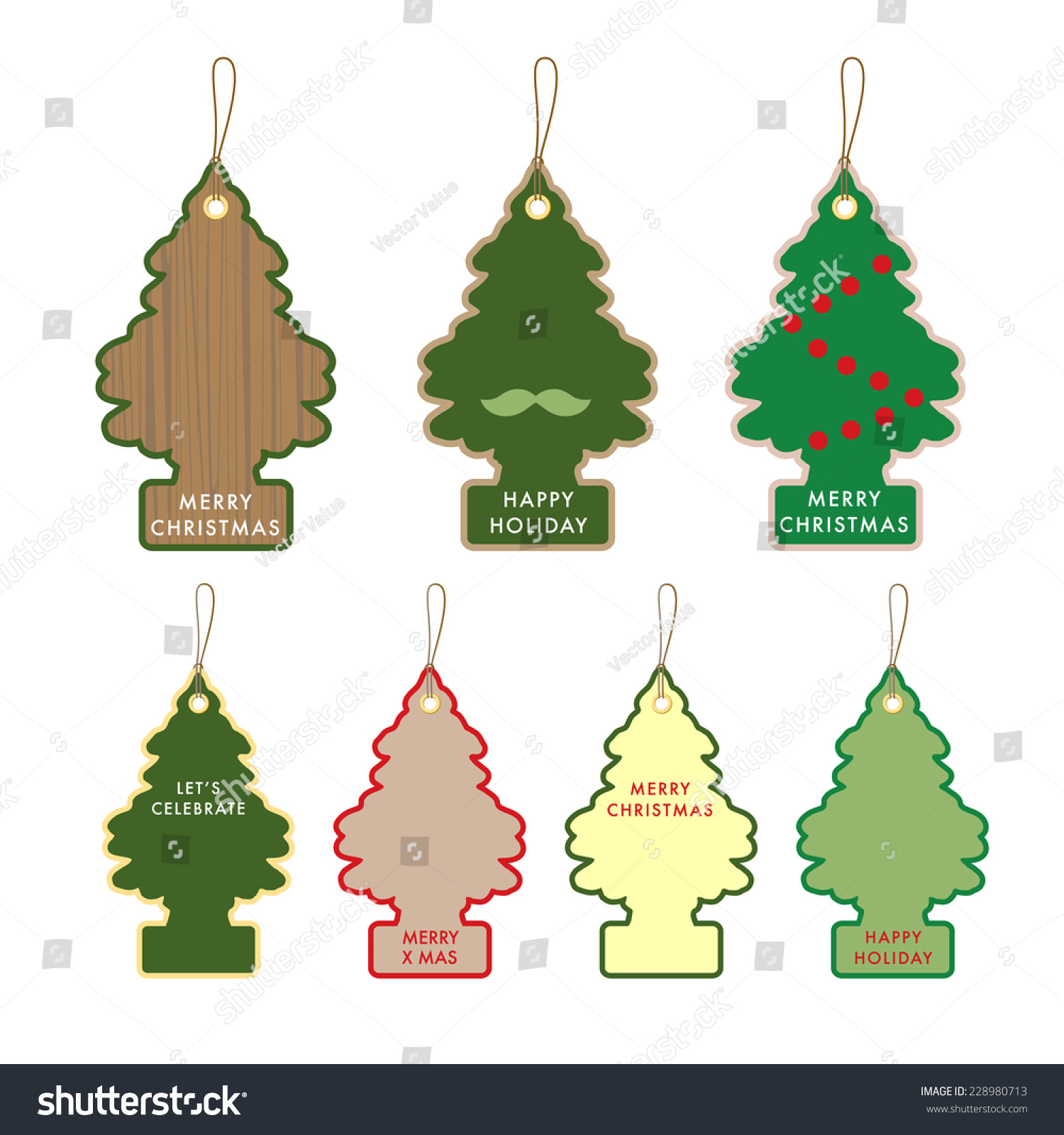 Collection Christmas Tree Gift Card Name Stock Vector (Royalty Free ...