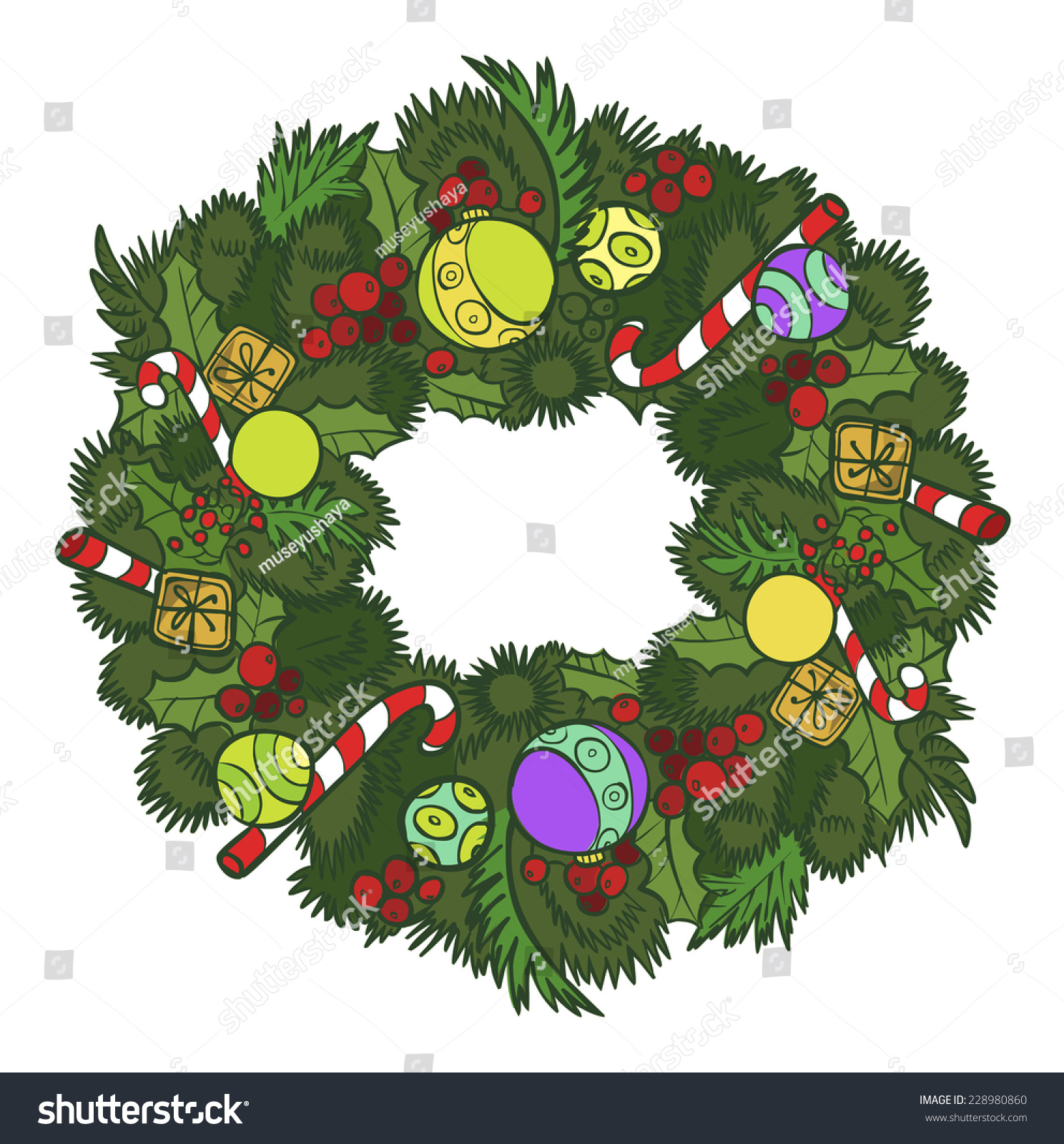 Funny Vector Cartoon Colorfull Christmas Wreath Stock Vector
