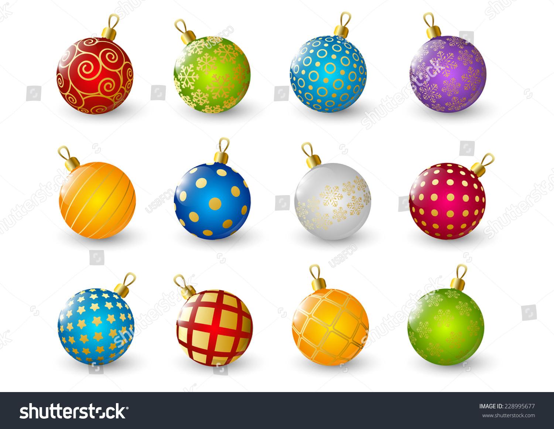 Set of color christmas balls stock vector illustration