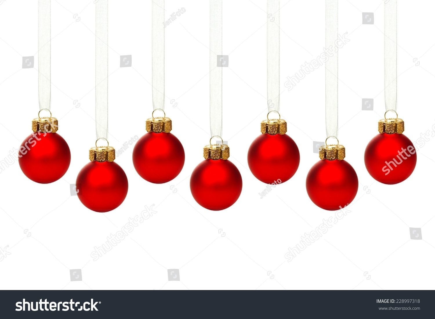 Hanging Red Christmas Ornament Border Ribbon Stock Photo (Edit Now ...