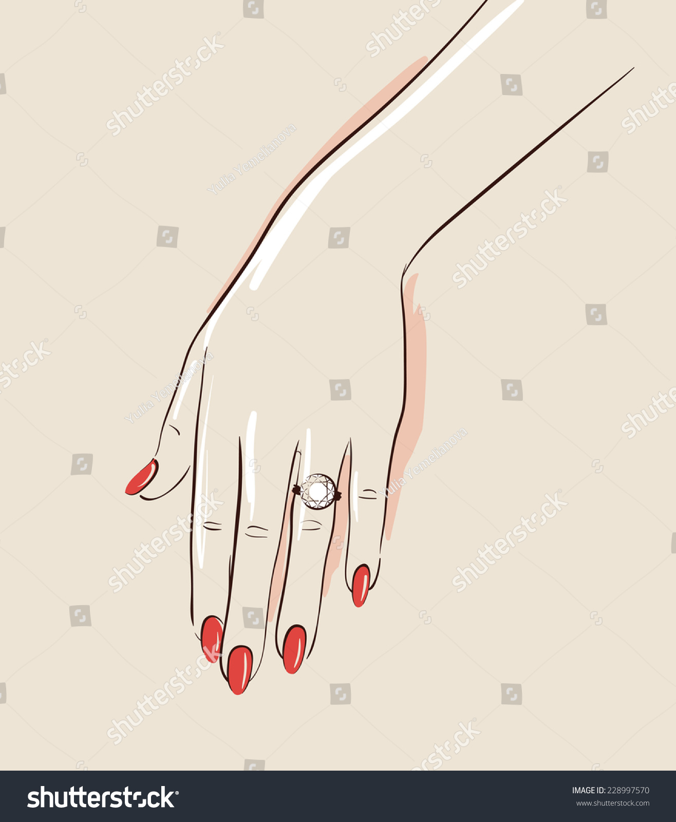 wedding ring drawing. woman hand wearing a wedding ring drawing. illustration eps 10 drawing