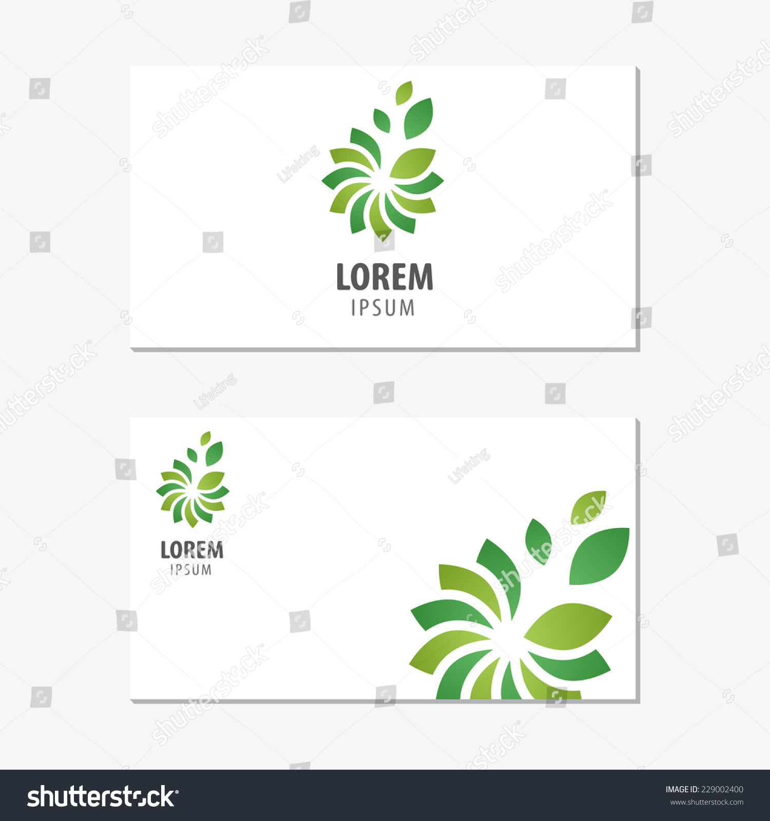 Vector logo design element business card stock vector 229002400 vector logo design element with business card template on white background tree leaf magicingreecefo Choice Image