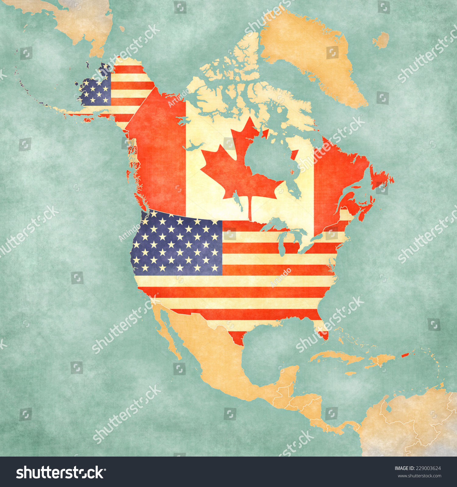 Us Canada On Outline Map North Stock Illustration - Us canada outline map