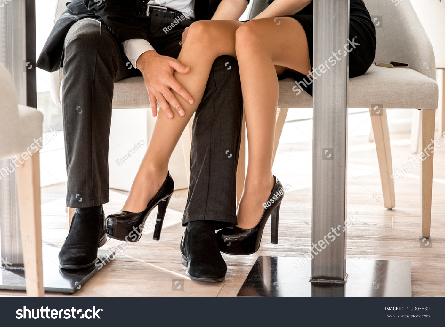 Young Couple Flirting Legs Restaurant Under Stock Photo Royalty