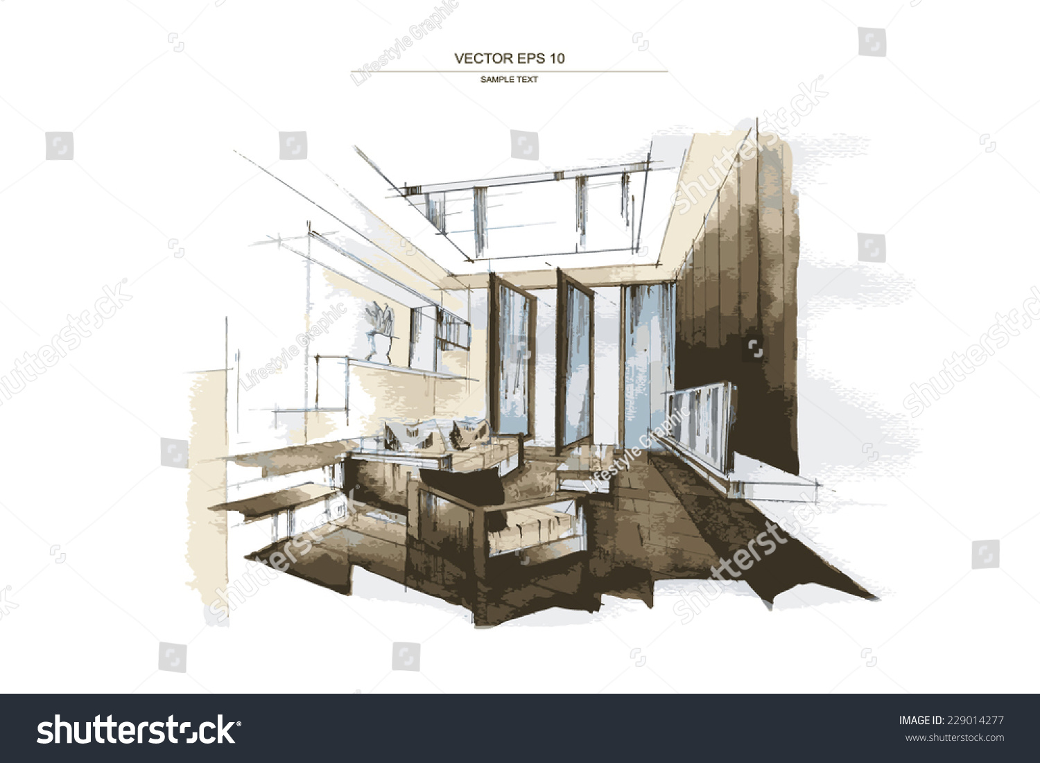 Vector Interior Sketch Design Living Room Stock Vector