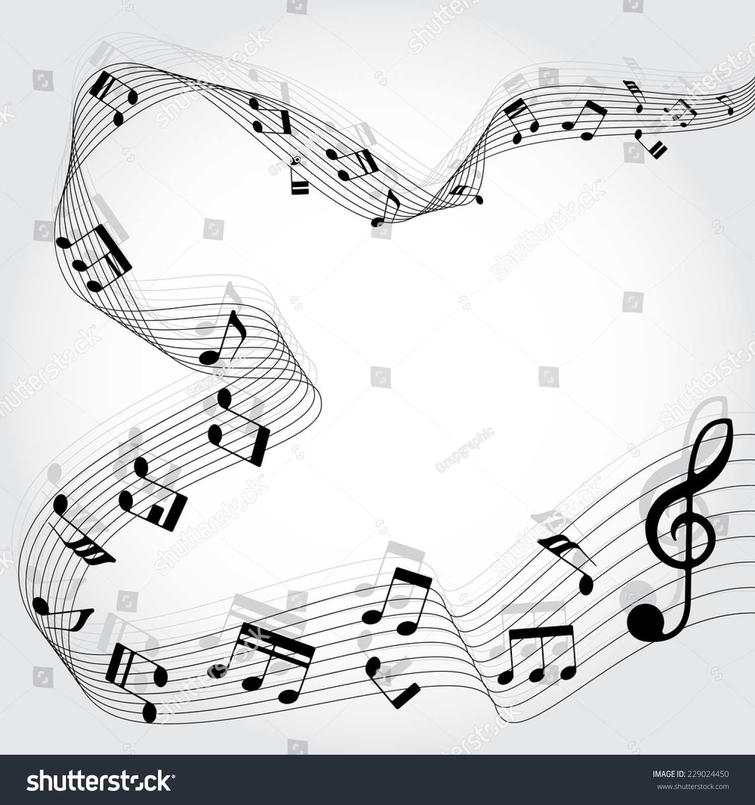 Musical chords flowing around area vector stock vector 229024450 musical chords are flowing around the area a vector illustration hexwebz Image collections