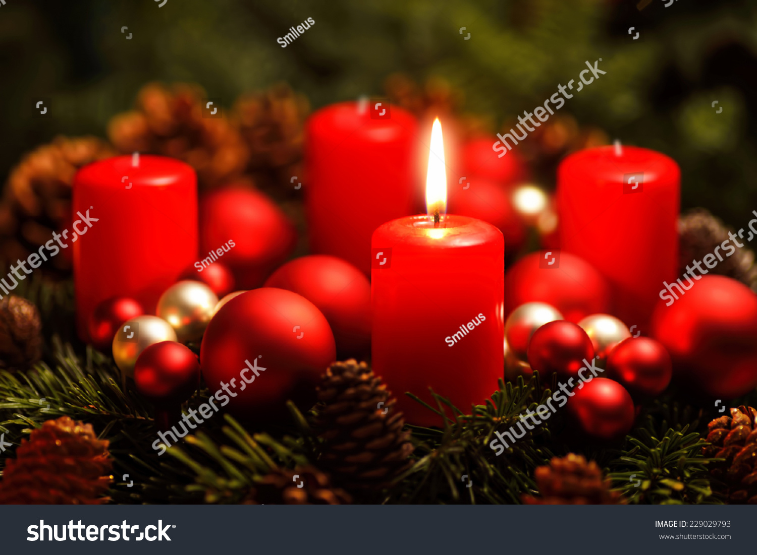 low key studio shot of a nice advent wreath with baubles. Black Bedroom Furniture Sets. Home Design Ideas