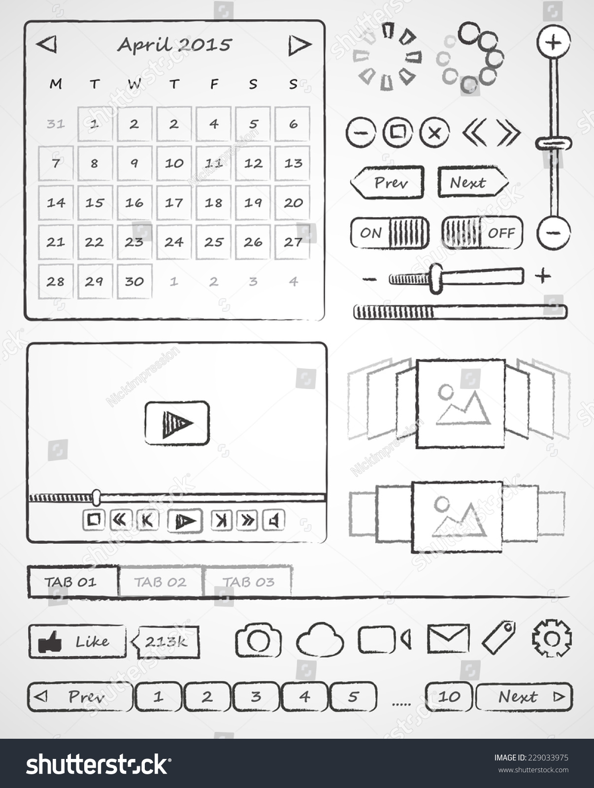 Wireframes Handdrawn Ui Web Elements Vector Stock Vector (2018 ...