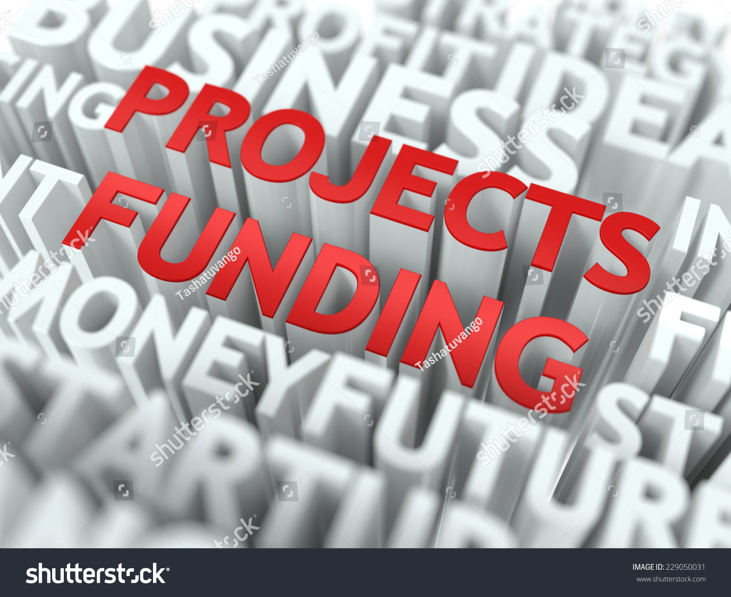Projects Funding Red Word On White Stock Illustration 229050031 ...