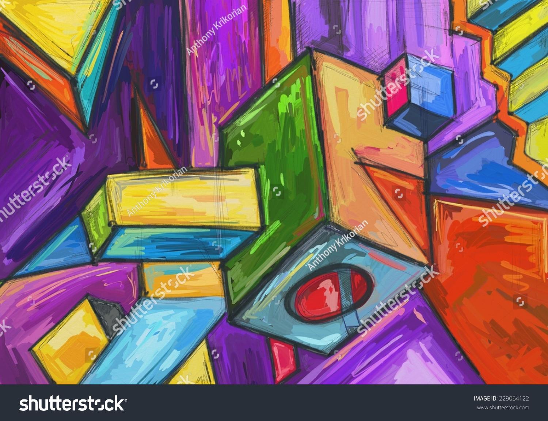 Cubic Dream Cubic Art Modern Contemporary Stock Illustration