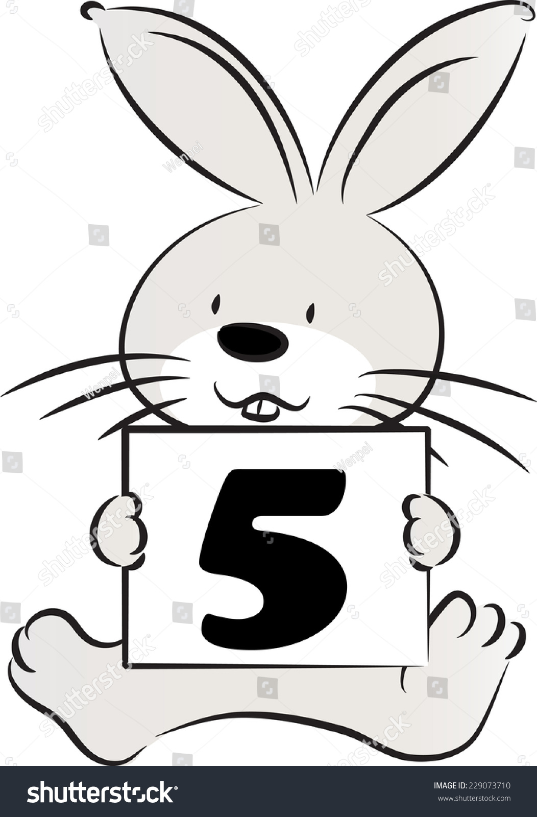 Coloring by numbers for rabbits - Vector Rabbit Holding A Card With Numbers